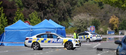 Police at the scene in SH2, Main Rd, Clive, where they shot and injured a man last night, after a woman was found dead in Westshore, Napier. photograph