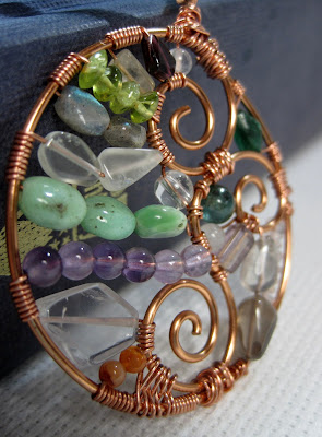 Semi-precious stone mosaic necklace