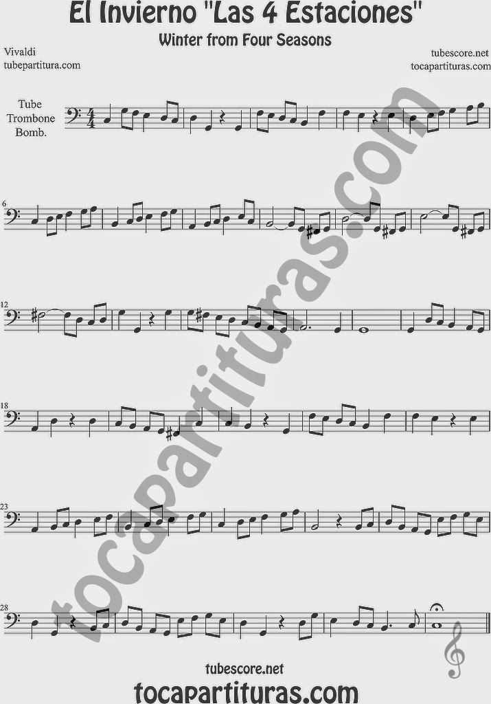 El Invierno de Vivaldi Partitura Fácil  Partitura de Trombón, Tuba Elicón y Bombardino Sheet Music for Trombone, Tube, Euphonium Music Scores Easy Winter Sheet Music