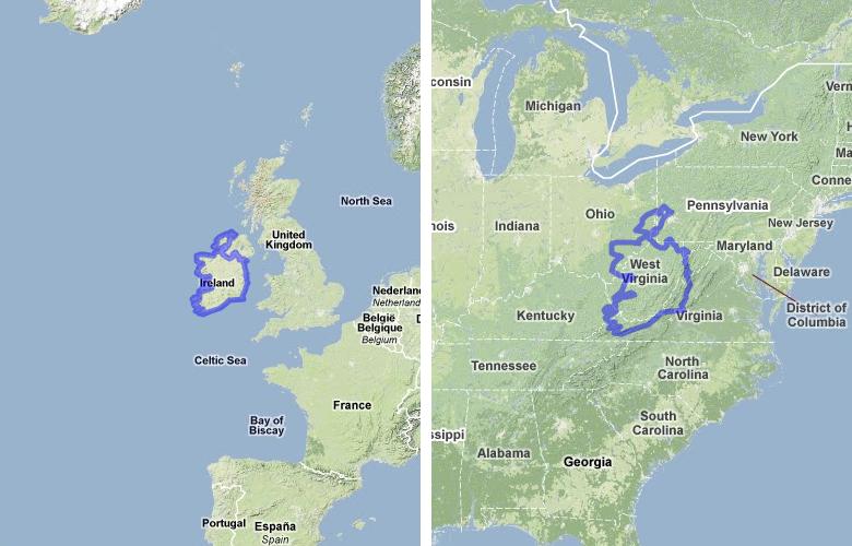Virginia Ireland Map - Ireland on us map