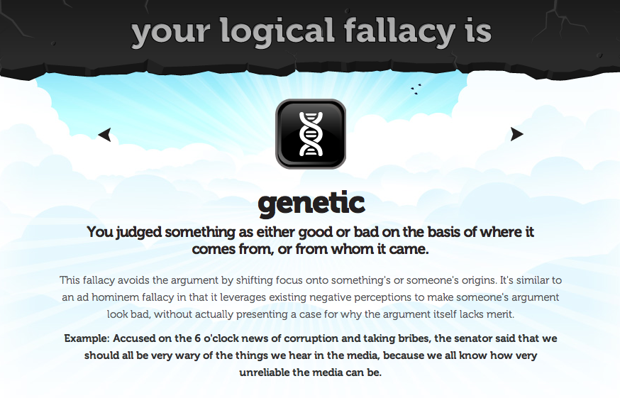 Eville Times Logical Fallacy 18 Genetic