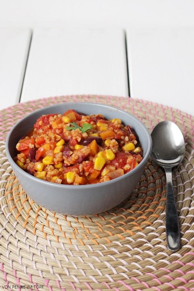 Penne im Topf: {Vegan} Chili ohne Carne - dafür mit Bulgur!