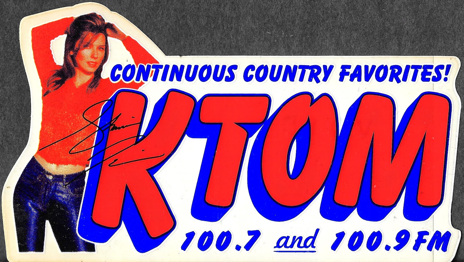 Shania is featured on two radio stickers in the collection. This one