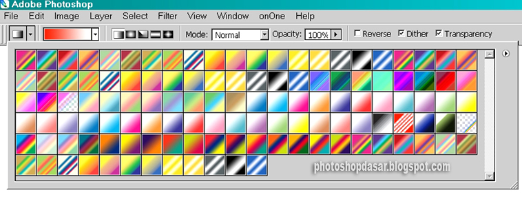 Gambar 3. Warna-warna gradasi default photoshop