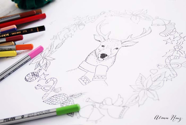 Dibujos navideños hechos a mano para descargar y colorear