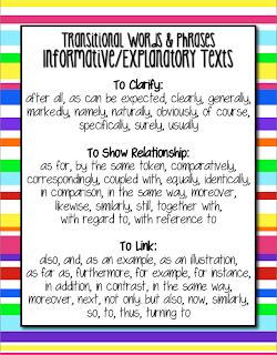 Common Core Informative/Explanatory Expository Writing: Transitions