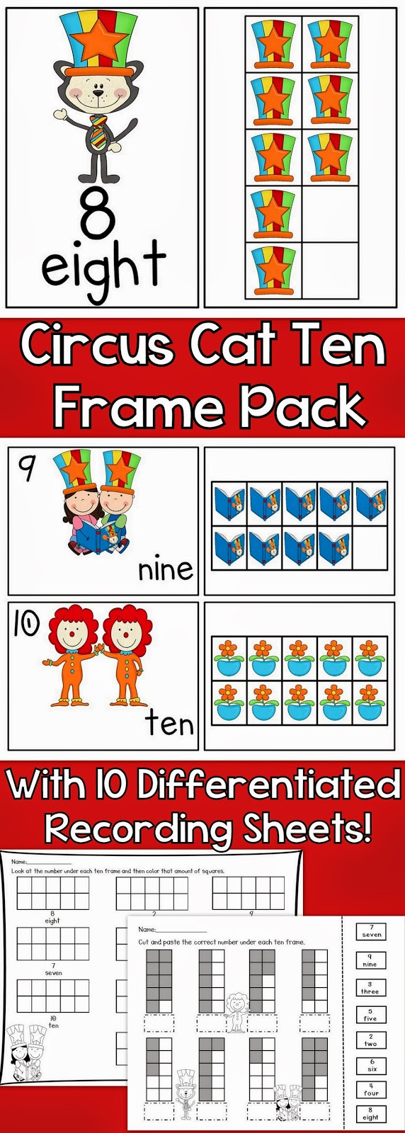 https://www.teacherspayteachers.com/Product/Circus-Cat-Ten-Frames-Posters-Workstation-Cards-and-Worksheets-1139035