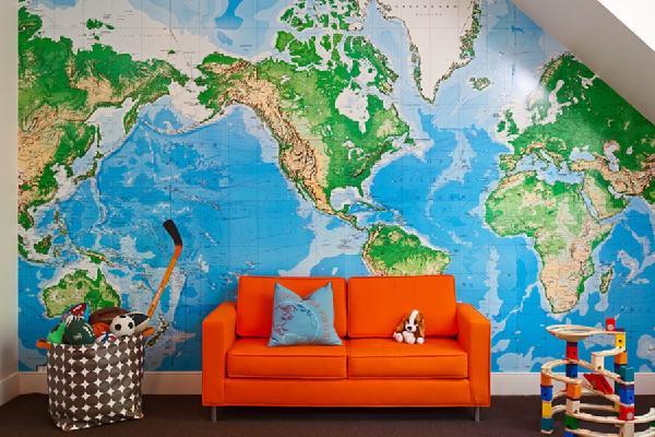 Decorar com mapa mundi muito estilo papo de design for Kids room world map