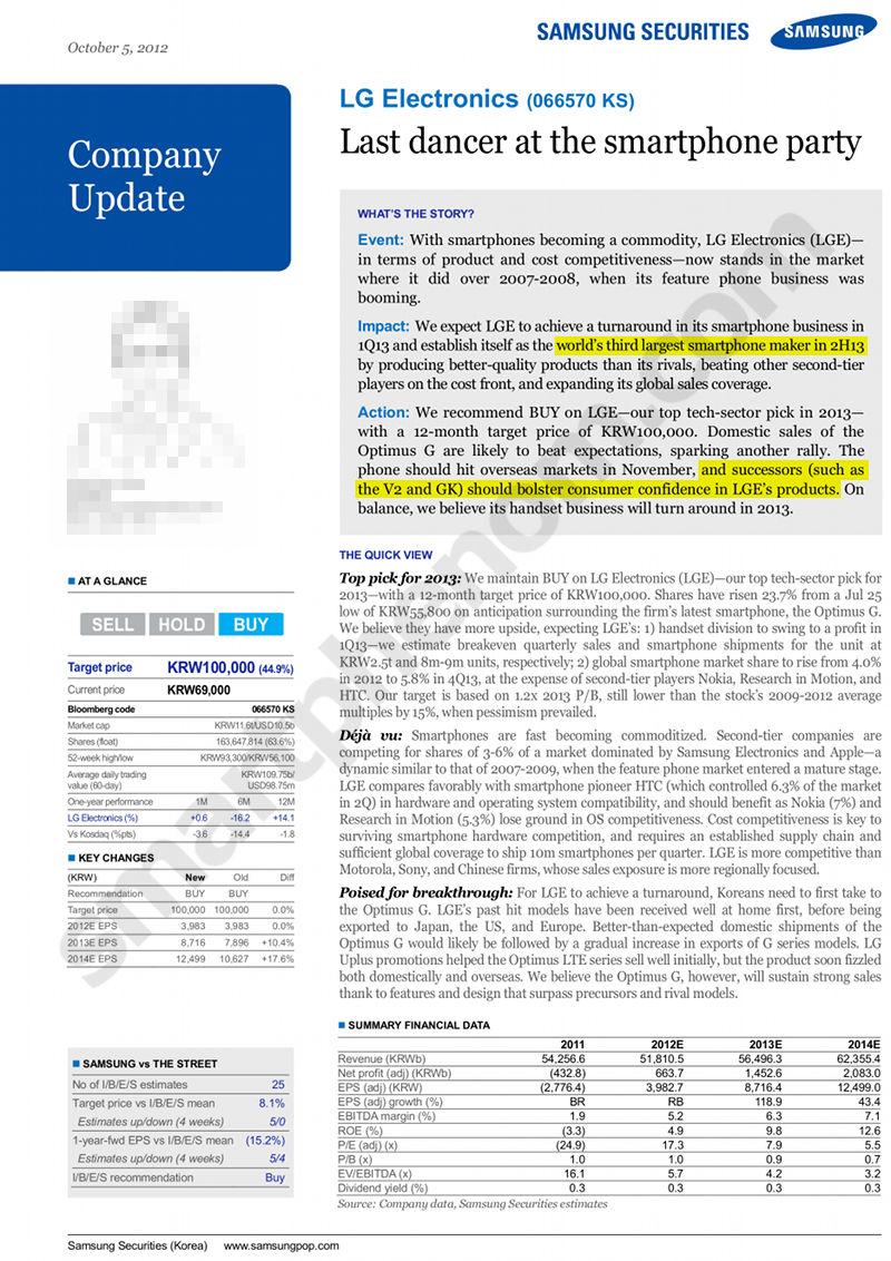 Samsung LG Report