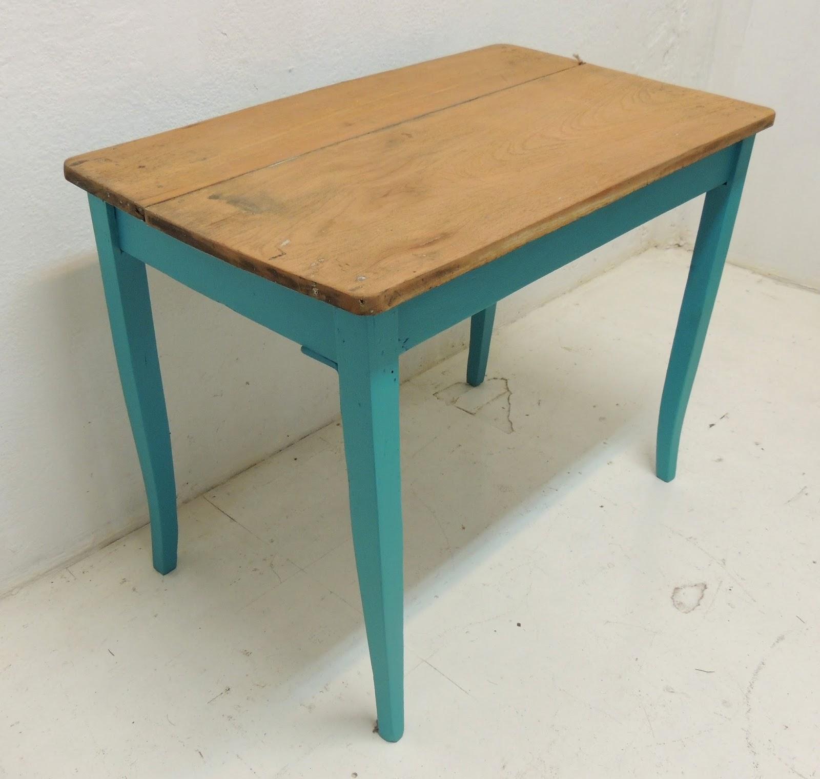 Antigua mesa de campo en turquesa y mesada en cedro macizo - Mesa de campo ...