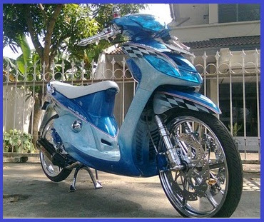 kumpulan modifikasi motor mio sporty warna biru