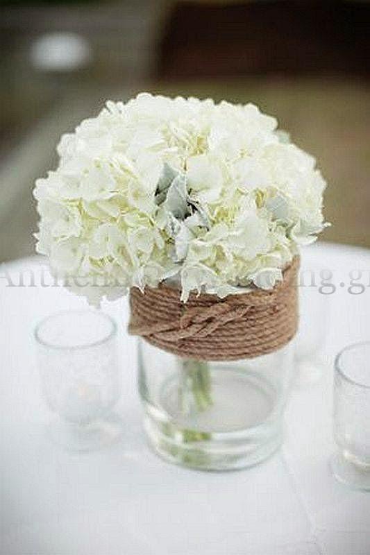 ορτανσία για τραπέζι δεξίωσης γάμου