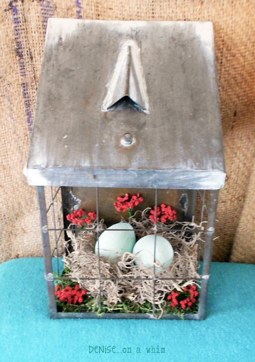 Combining Metal and Natural Elements to Create a Spring Arrangement via http://deniseonawhim.blogspot.com