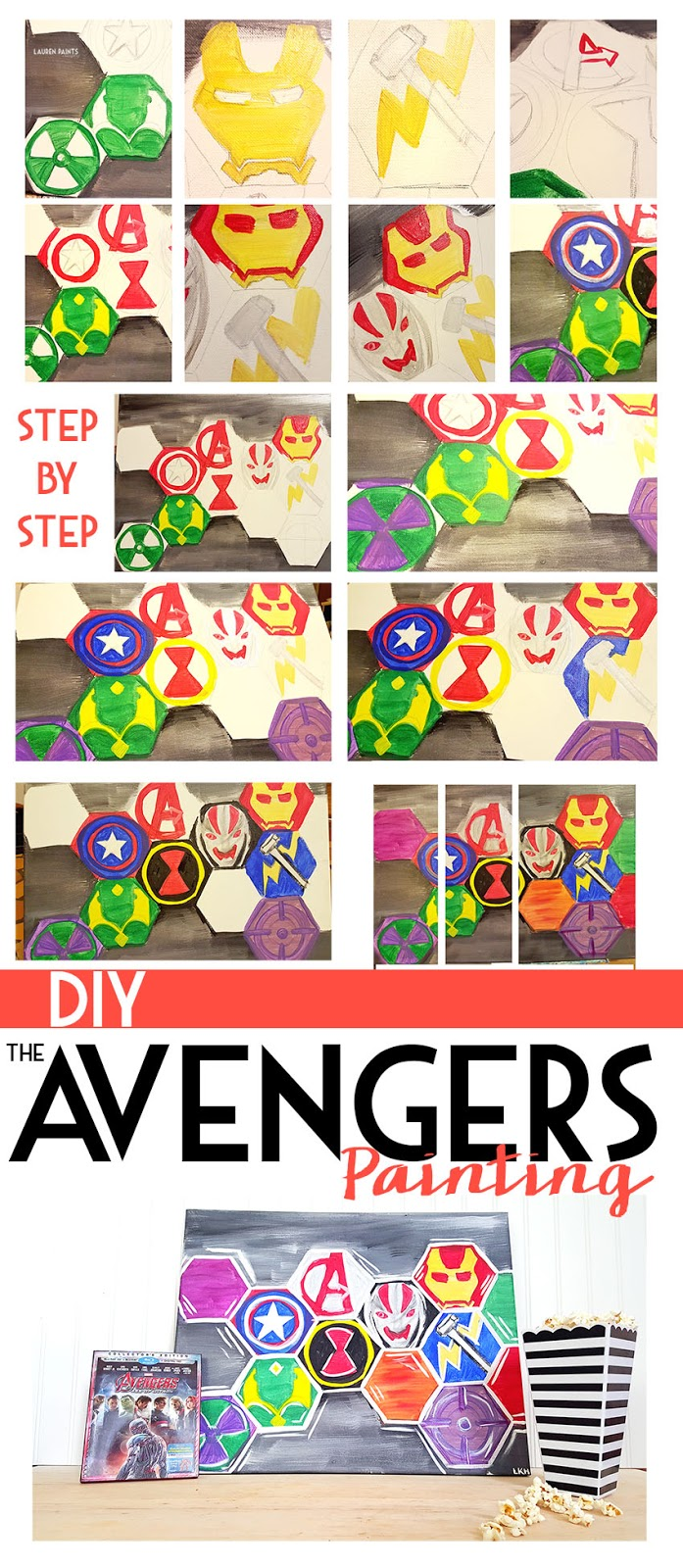 I was so inspired by MARVEL's The Avengers: Age of Ultron that I decided to share an awesome DIY Painting! Want to make one for your home? Follow the tutorial! http://cbi.as/7afs