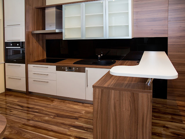 Picture of modern brown kitchen furniture