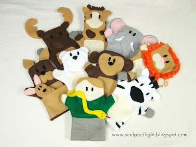 Zoo animal puppets. Front view.
