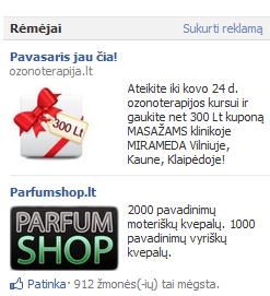 Reklama Facebook'o rėmėjų skiltyje