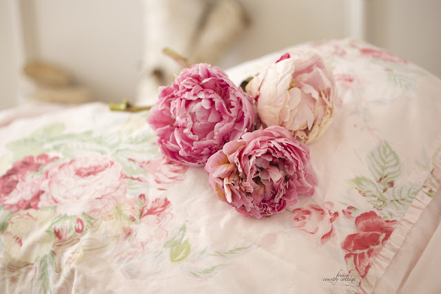 Blush fabric with cabbage roses French Cottage