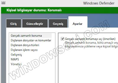 Windows Defender Gerçek zamanlı Koruma
