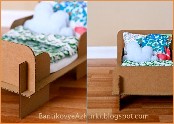 Кровать для куклы из картона.