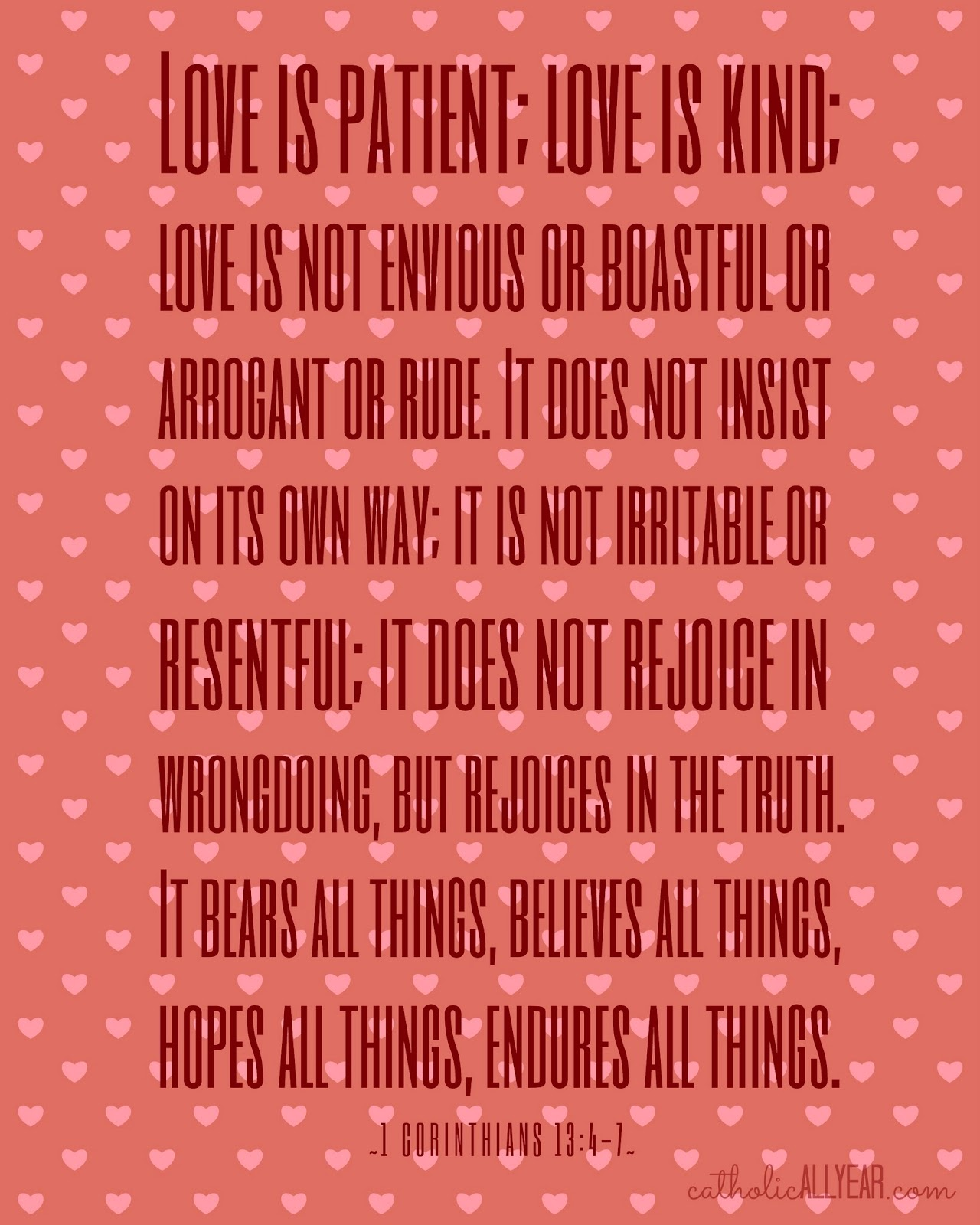 Love Is Patient Quote Catholic All Year Seven Free Printable Catholic Valentines