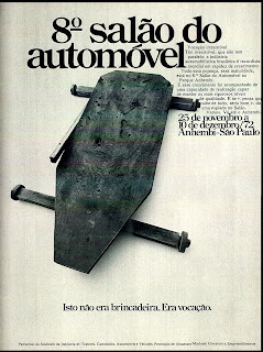 propaganda 8º Salão do Automóvel - 1972 - carrinho de rolimã; 1972; brazilian advertising cars in the 70s; os anos 70; história da década de 70; Brazil in the 70s; propaganda carros anos 70; Oswaldo Hernandez;