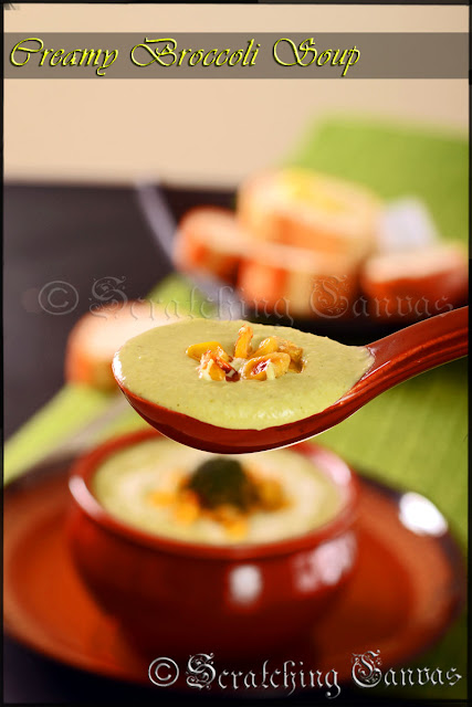 Roasted Cornand Creamy Broccoli Soup