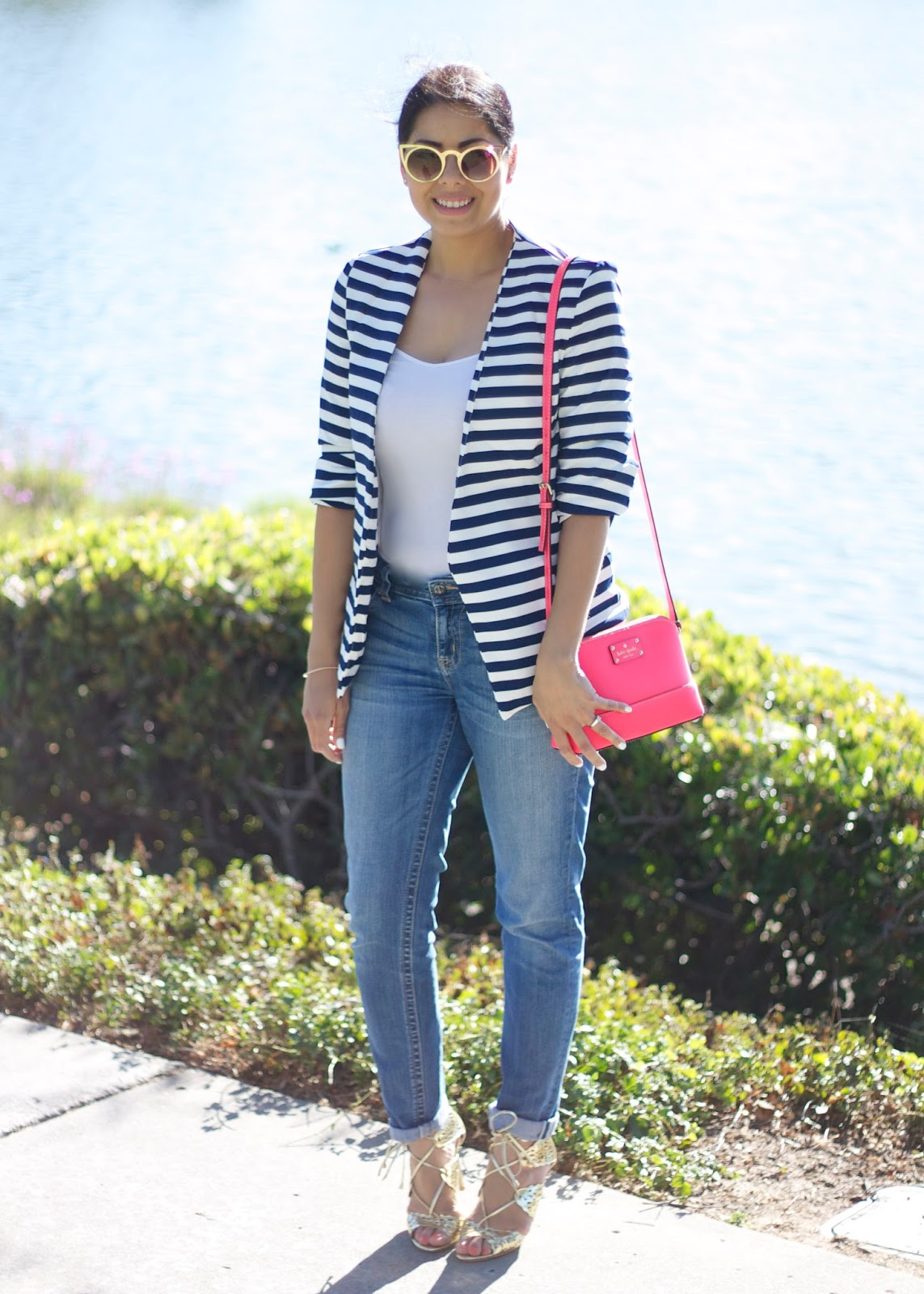how to wear a striped blazer, hot pink kate spade cross body, how to wear gold sandals