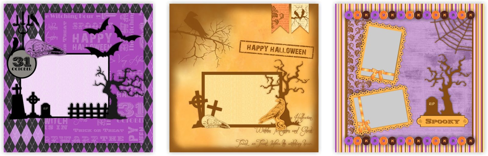 Scrapbook ideas and designs - Above Are A Three Ideas Using My New Spooky Digital Set Available At My Etsy Shop The Set Has 12 Digital Scrapbook Pages Which Are 12 X12 And Saved As