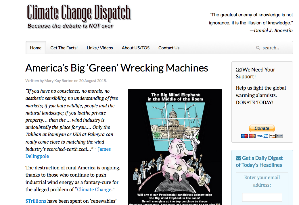 "August 20, 2015: ""America's big 'green' wrecking machines"" / By Mary Kay Barton"