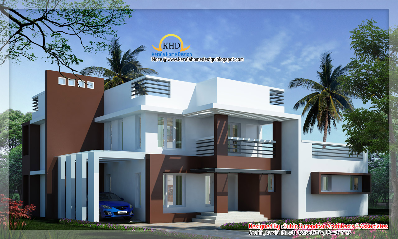 Modern contemporary villa 2700 sq ft kerala home for Contemporary home designs india
