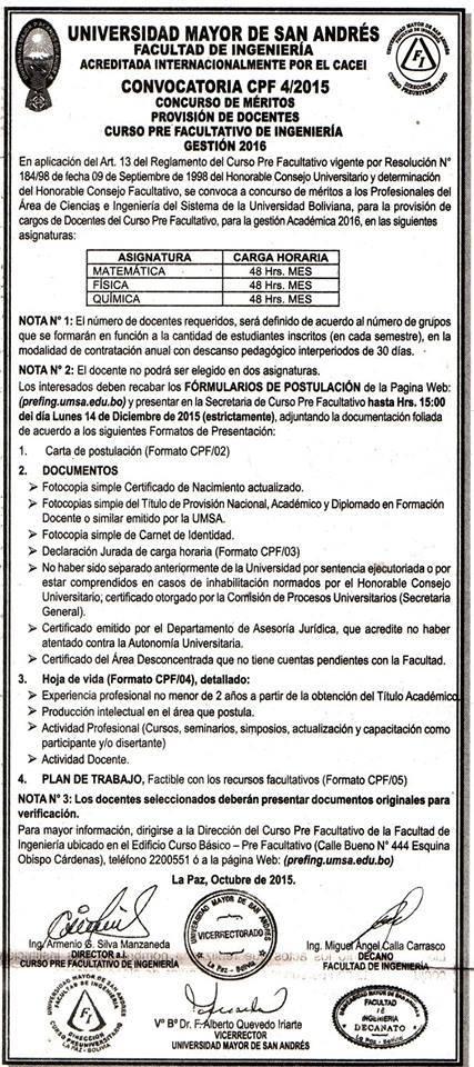 Facultad de ingenieria curso pre facultativo informa sobre Convocatoria para las plazas docentes 2016