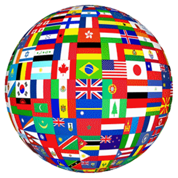 image of a globe showing a variety of international flags.