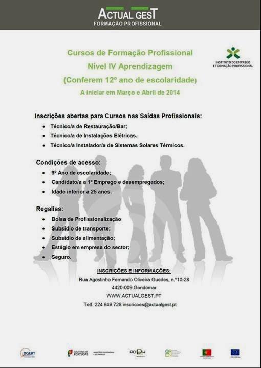 Cursos de aprendizagem nível IV em Gondomar (a iniciar em março de 2014)