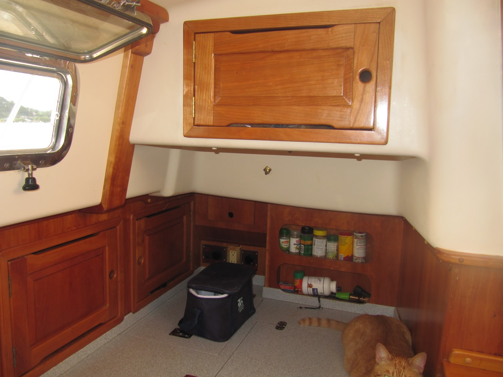 Marine solar panel installations first mate marine inc - Since We Are Talking About Grenada Marine Here Top Center Is A Pic Of The Newly Built Cabinet To Replace The Old Microwave They Took Off The Door Shown