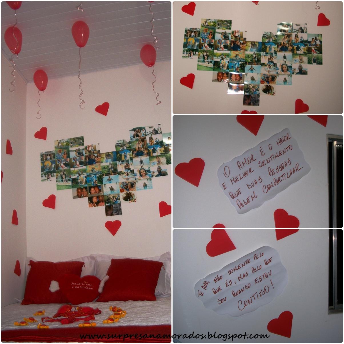 Coração de Fotos na Parede  Surpresas para Namorados