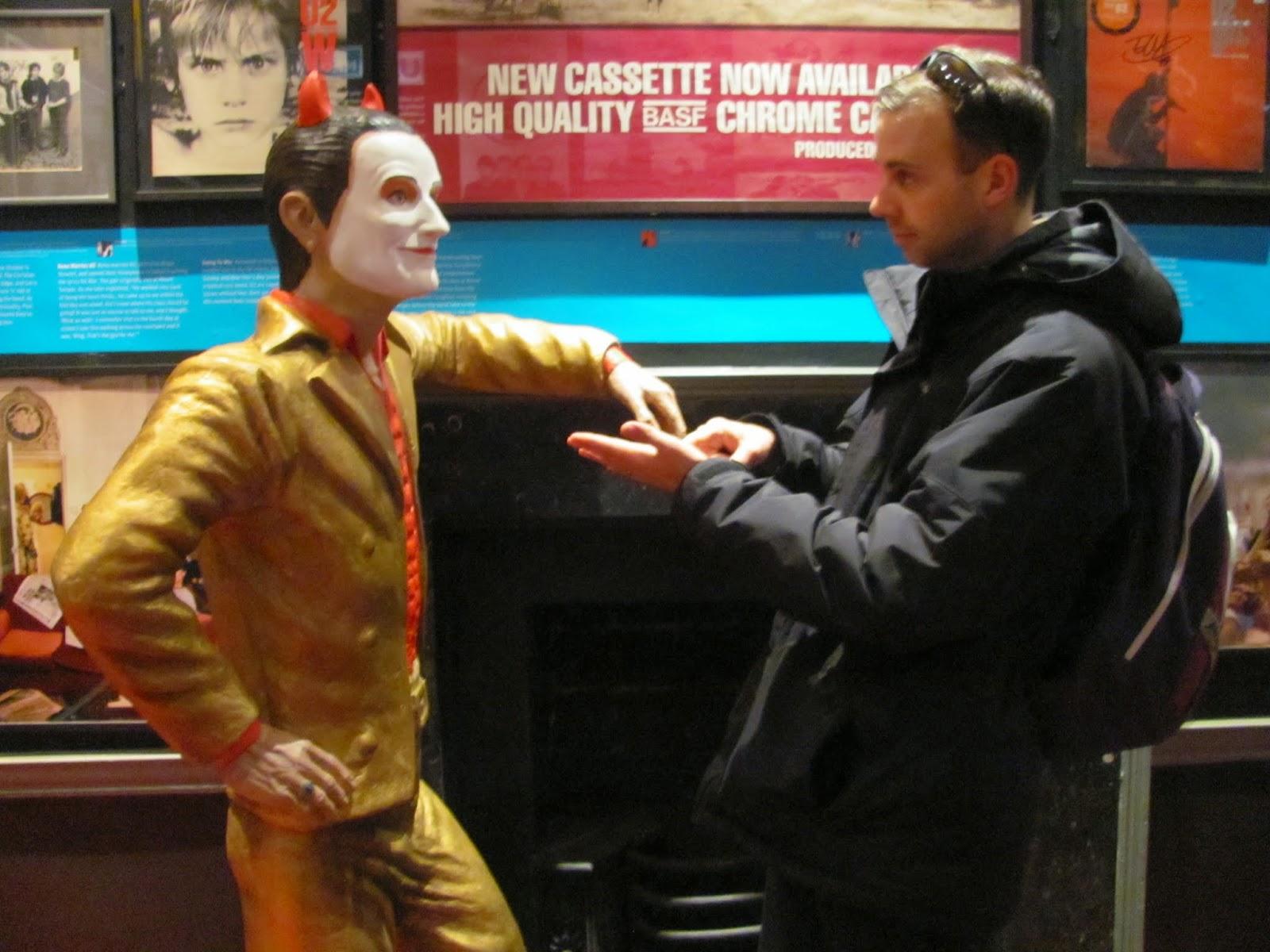 Cory and a statue of Bono