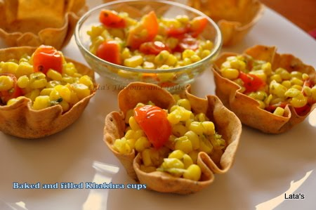 Flavours and tastes baked and filled khakhra cups for Canape fillings
