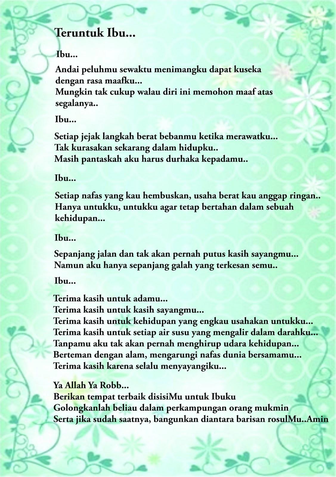 Puisi Untuk Ibu Tersayang