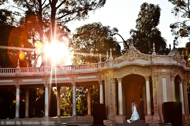 Beautiful Bride and Groom in Organ Pavillion of Balboa Park