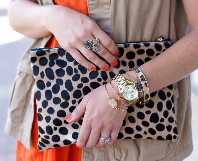 clare v leopard pony hair clutch