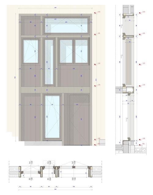detalle constructivo de la carpinteria de la entrada