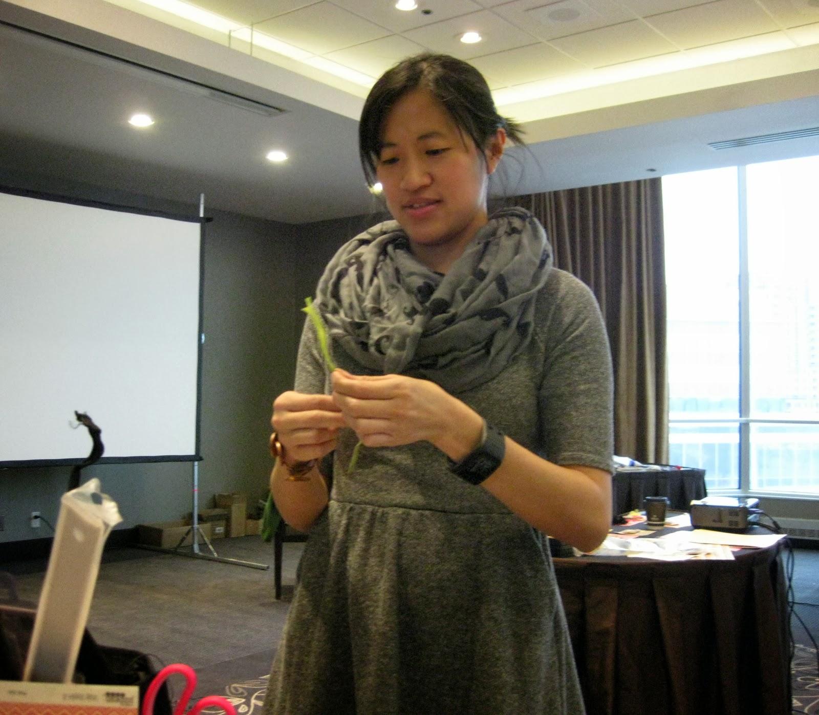 Maya Road workshop  Caroline Lau helping Roberta
