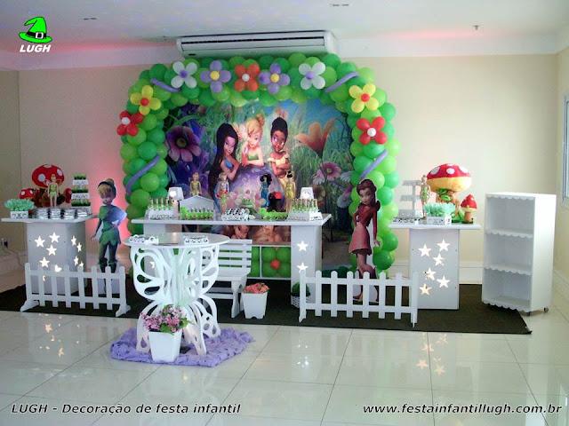 mesa decorada provençal com o Tema Tinker Bell (Sininho) para festa de aniversário infantil de meninas - Barra da Tijuca RJ
