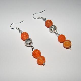 Cercei din agate de foc portocalii