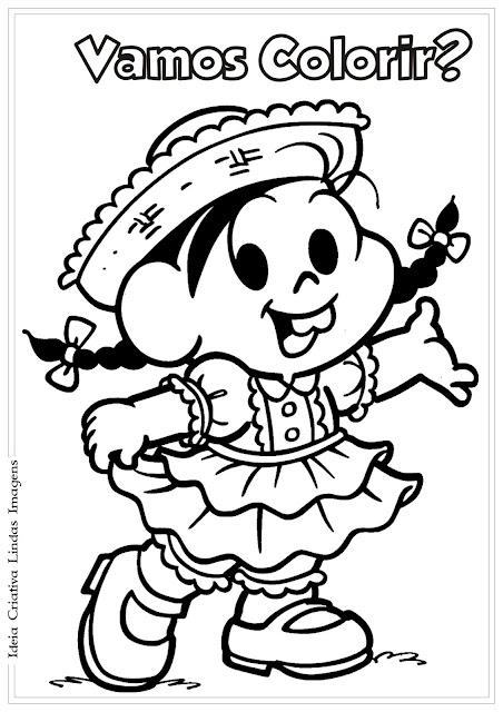 Desenho de Festas Juninas / Turma da Mônica para colorir
