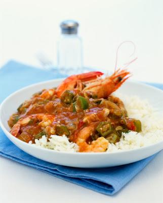Shrimp okra and crayfish gumbo dish with rice for Mardi Gras