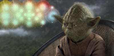 Yoda with colored mind bubbles
