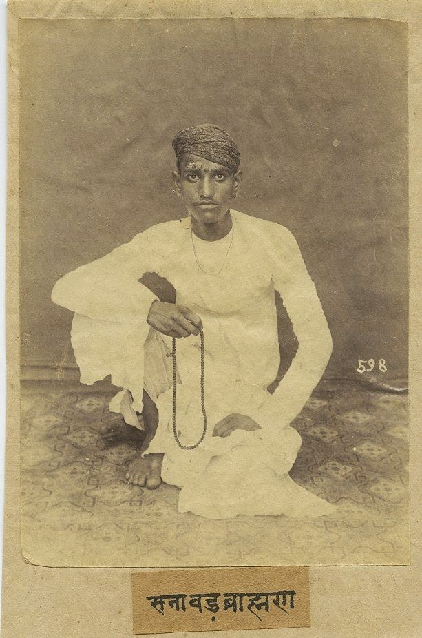 A Young Indian Man Holding Beads - c1870's