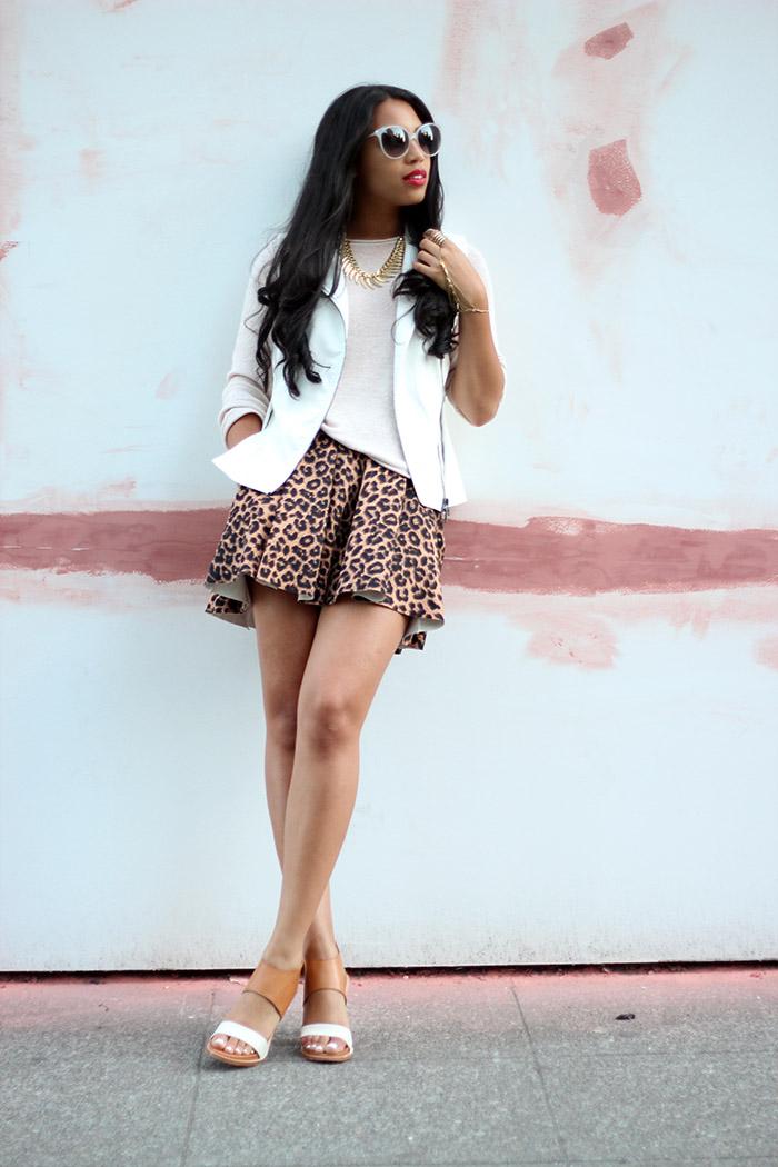 wearing Nordstrom Savvy moto vest and leopard skirt, Dolce Vita gwendolyn heels
